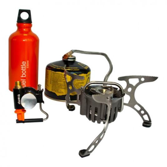 Tramp горелка туристическая мультитопливная газ/бензин к-т: горелка,фляга,форсун